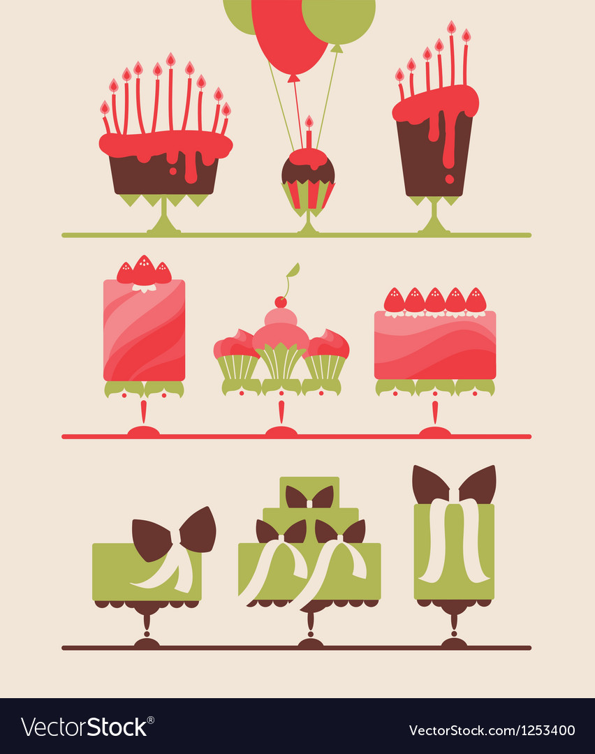 Beautiful cakes and cupcakes vector | Price: 1 Credit (USD $1)