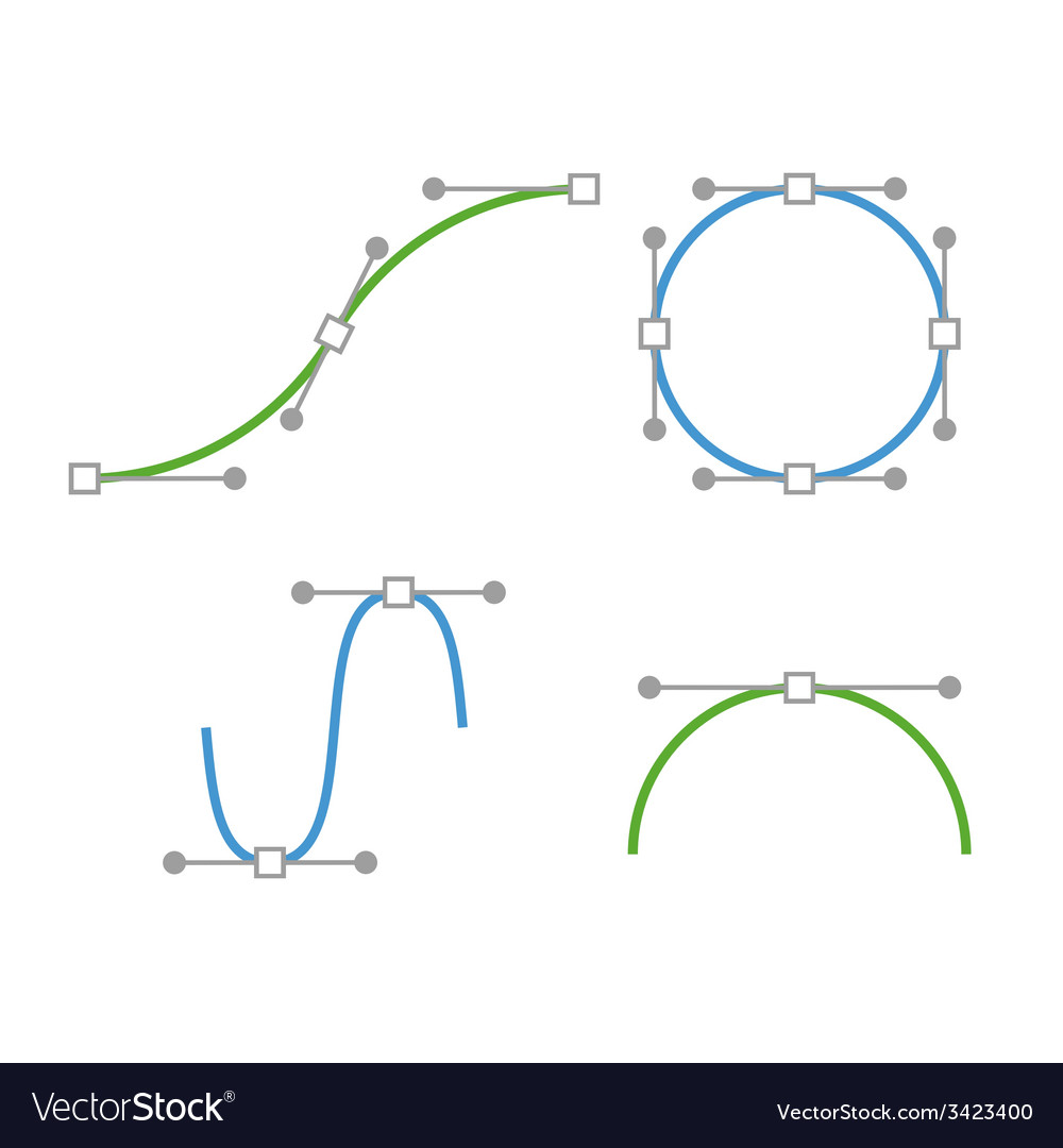 Bezier curve icons set designer work tools vector | Price: 1 Credit (USD $1)