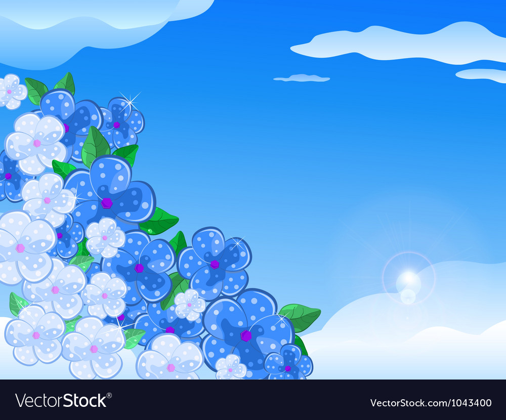 Blue white flower in the sky vector | Price: 1 Credit (USD $1)