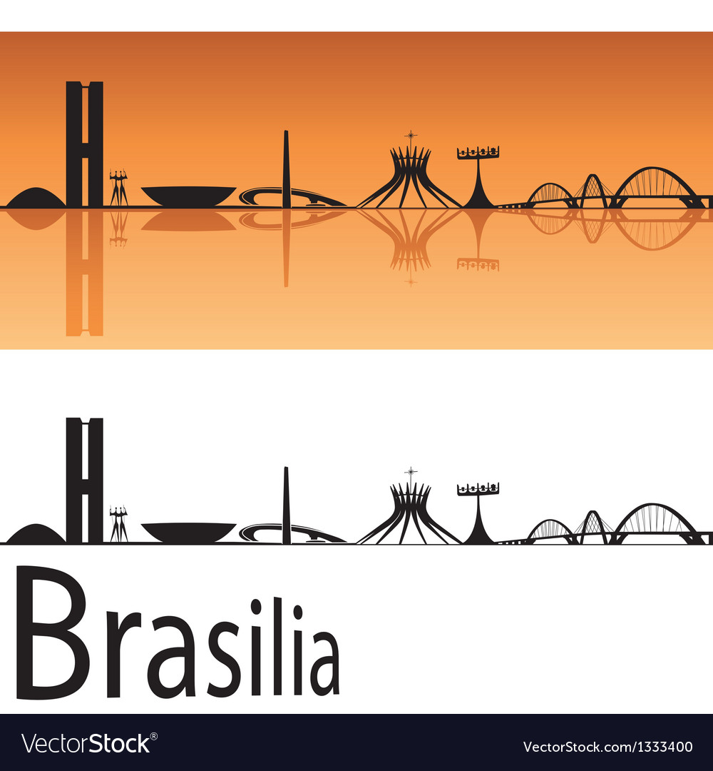 Brasilia skyline in orange background vector | Price: 1 Credit (USD $1)