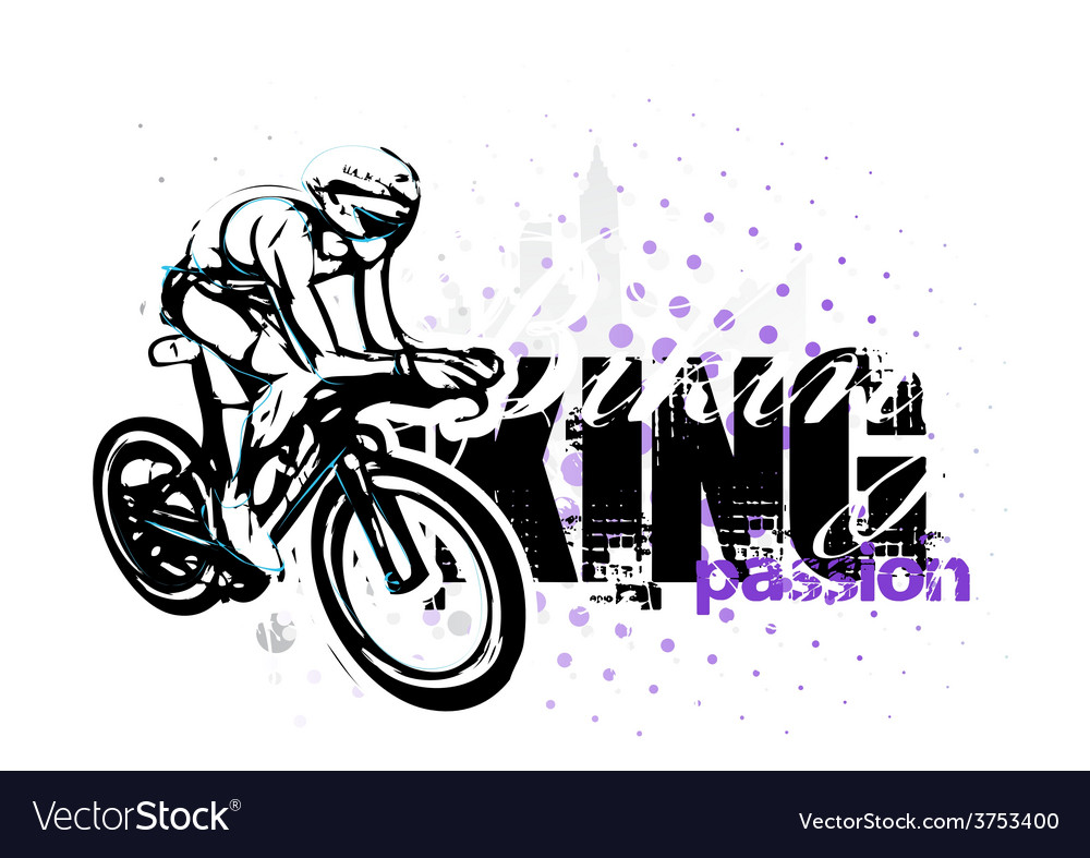 Cycling on grungy background vector | Price: 3 Credit (USD $3)