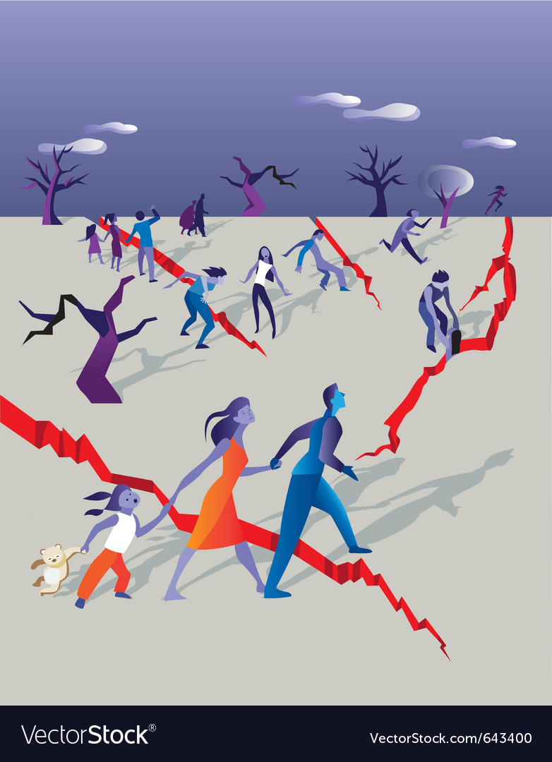 Earthquake people vector | Price: 3 Credit (USD $3)
