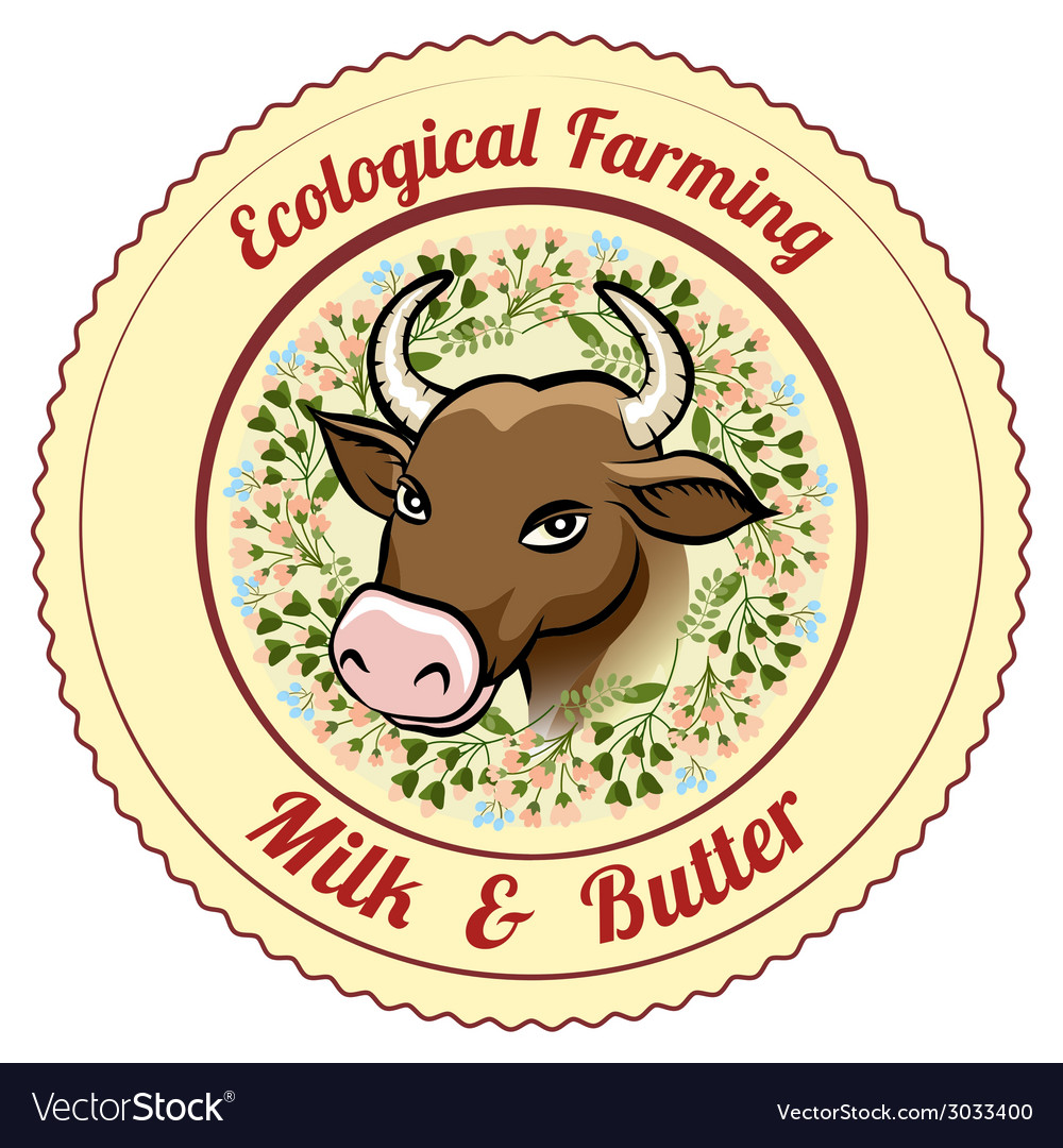 Ecological farming milk and butter label vector | Price: 1 Credit (USD $1)