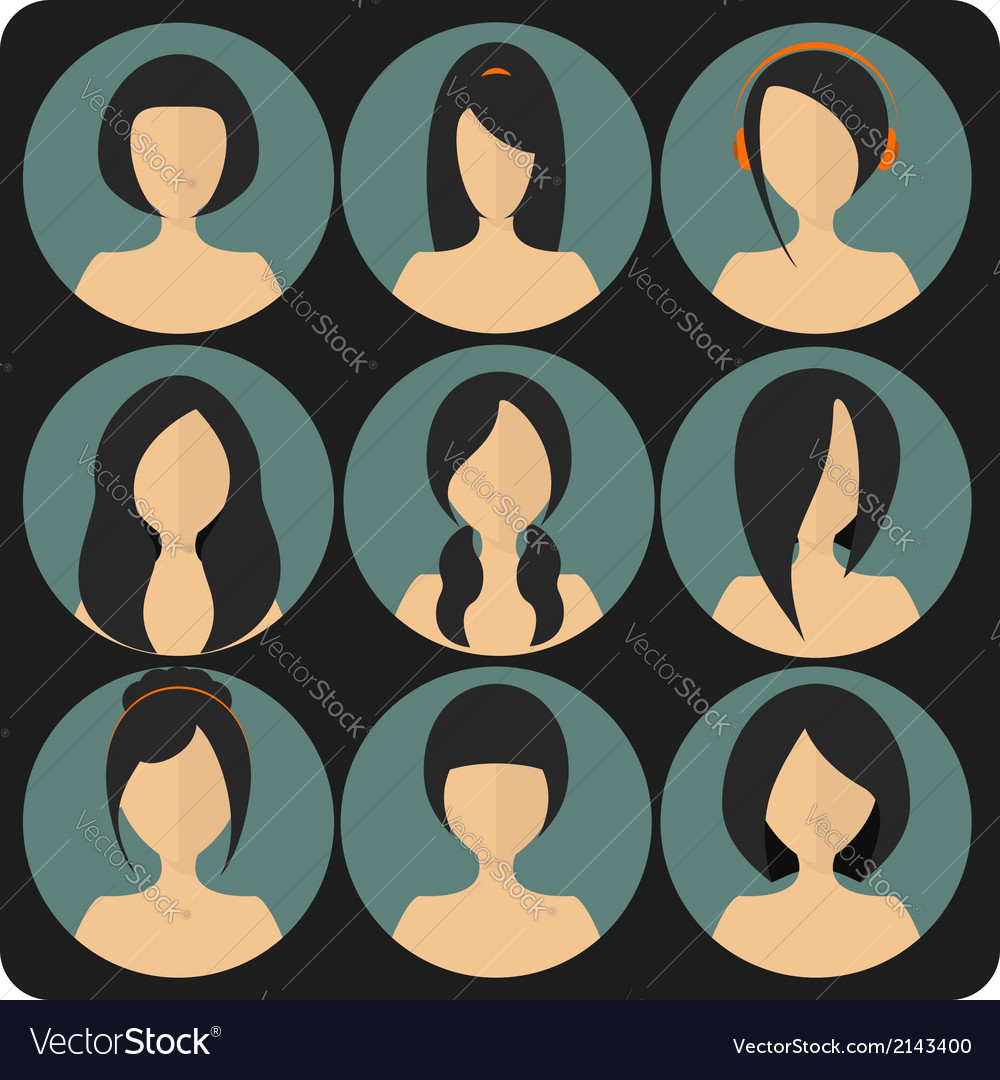 Flat womens glamor hairstyles blue icon set vector | Price: 1 Credit (USD $1)