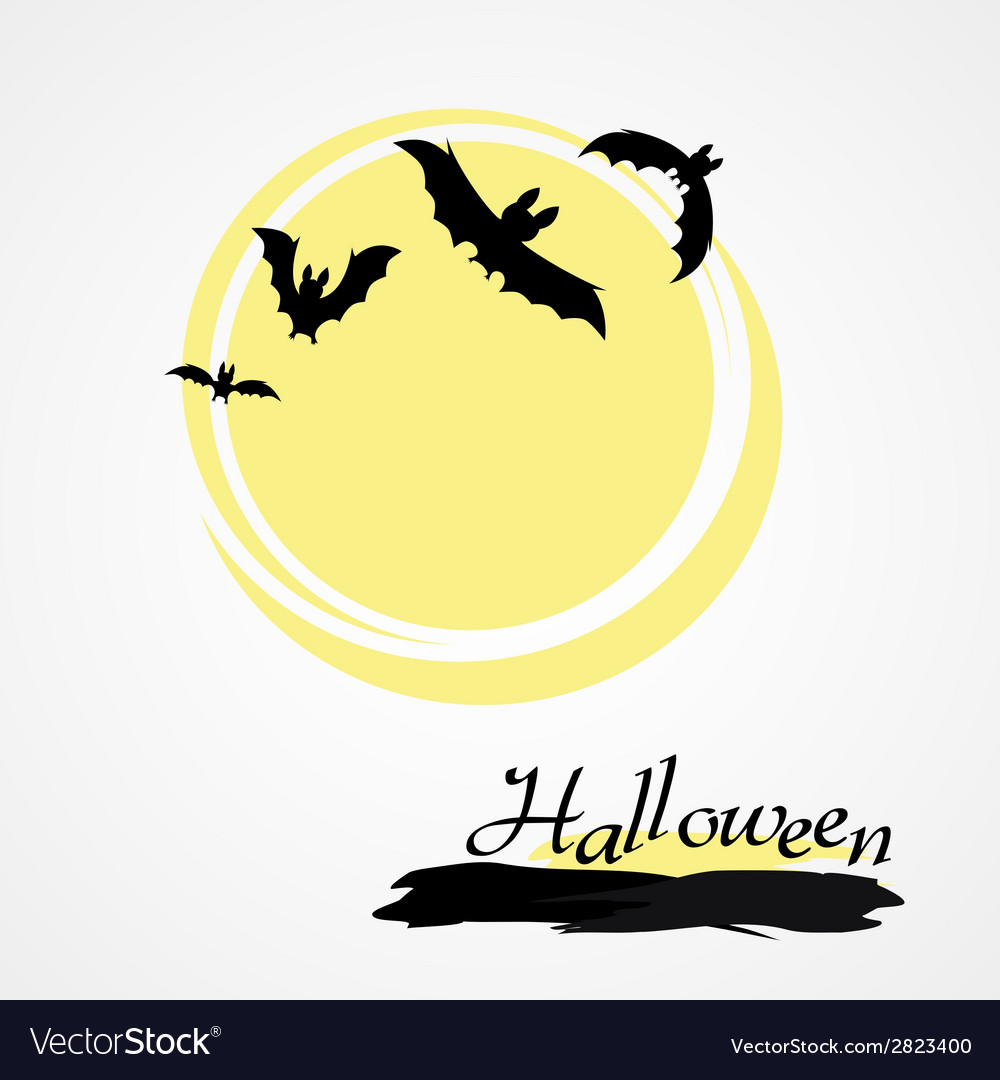 Halloween bat and moon vector | Price: 1 Credit (USD $1)