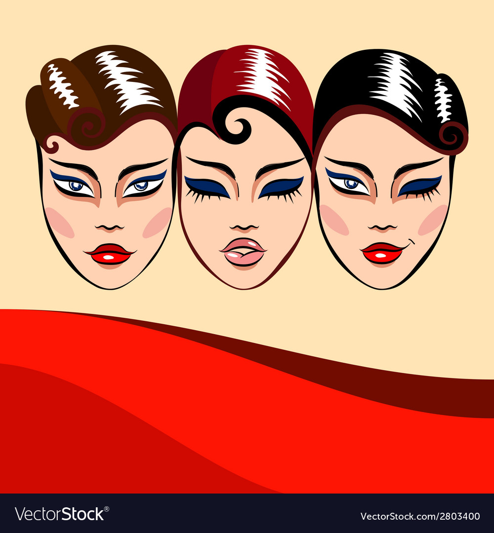 Invitation or commercial with woman faces vector | Price: 1 Credit (USD $1)