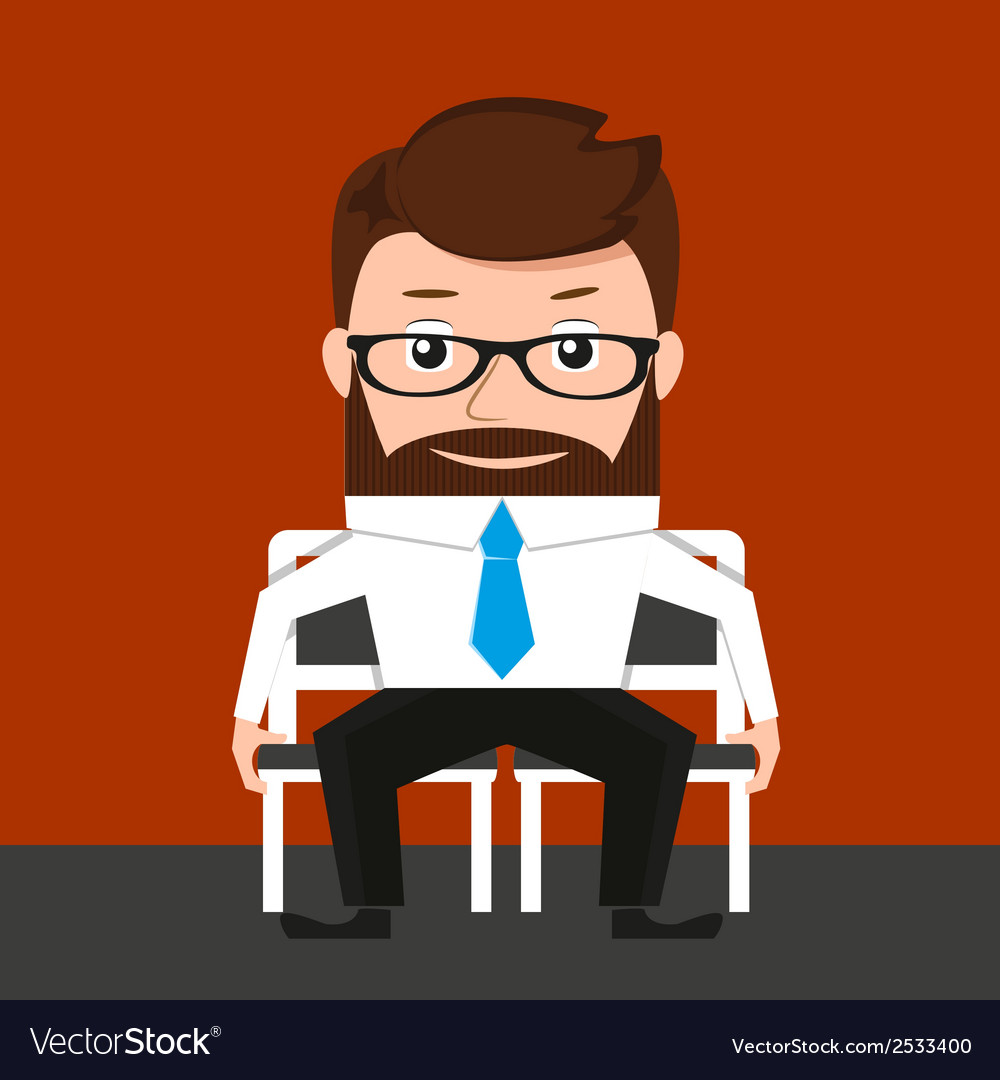 Lucky businessman is sitting on two chairs vector | Price: 1 Credit (USD $1)