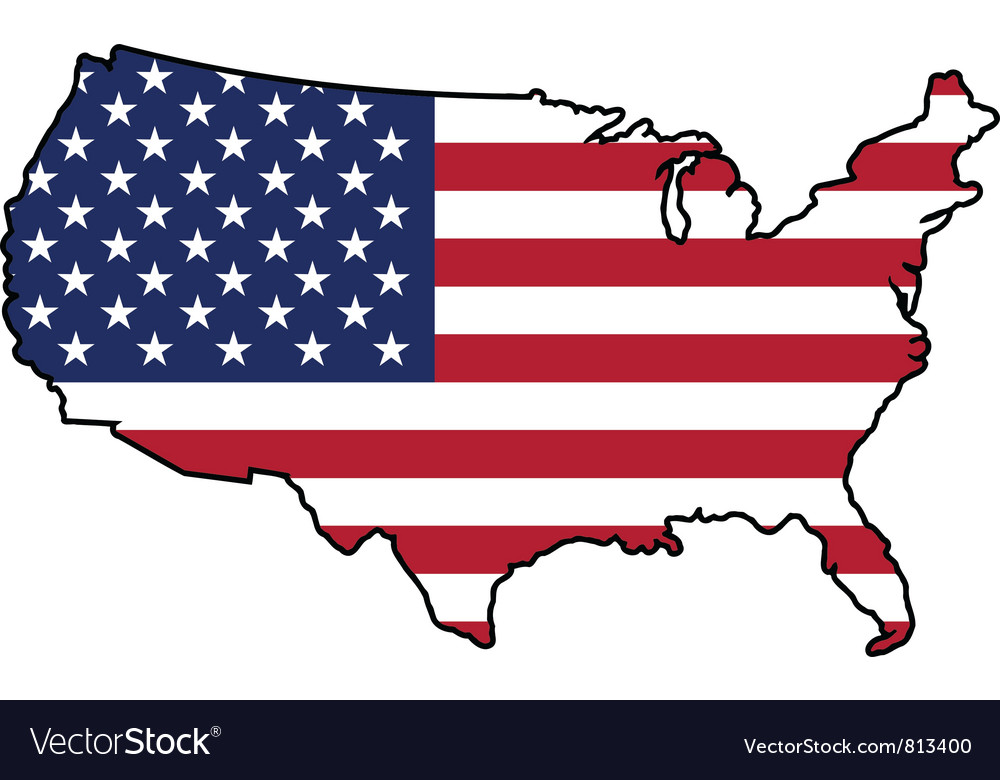 Map in colors of united states vector | Price: 1 Credit (USD $1)