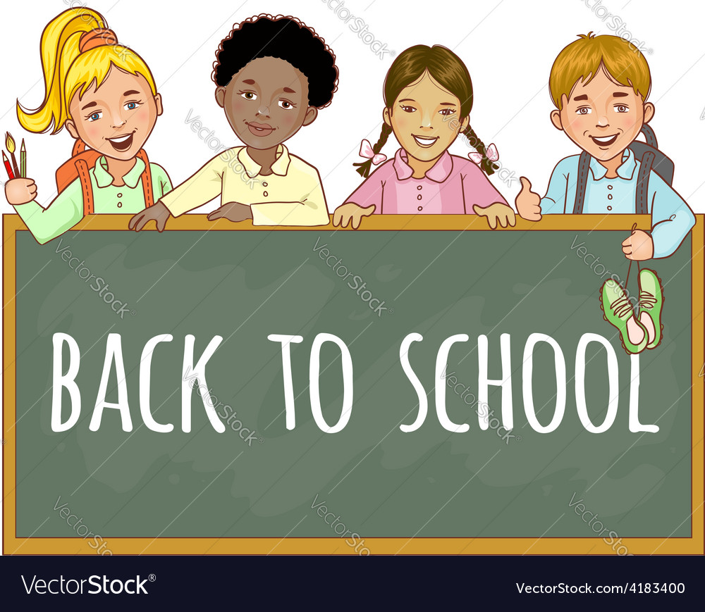 Schoolgirls and schoolboys at the blackboard vector | Price: 1 Credit (USD $1)