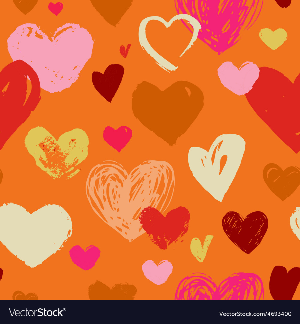 Seamless red hand drawn doodle pattern with hearts vector | Price: 1 Credit (USD $1)