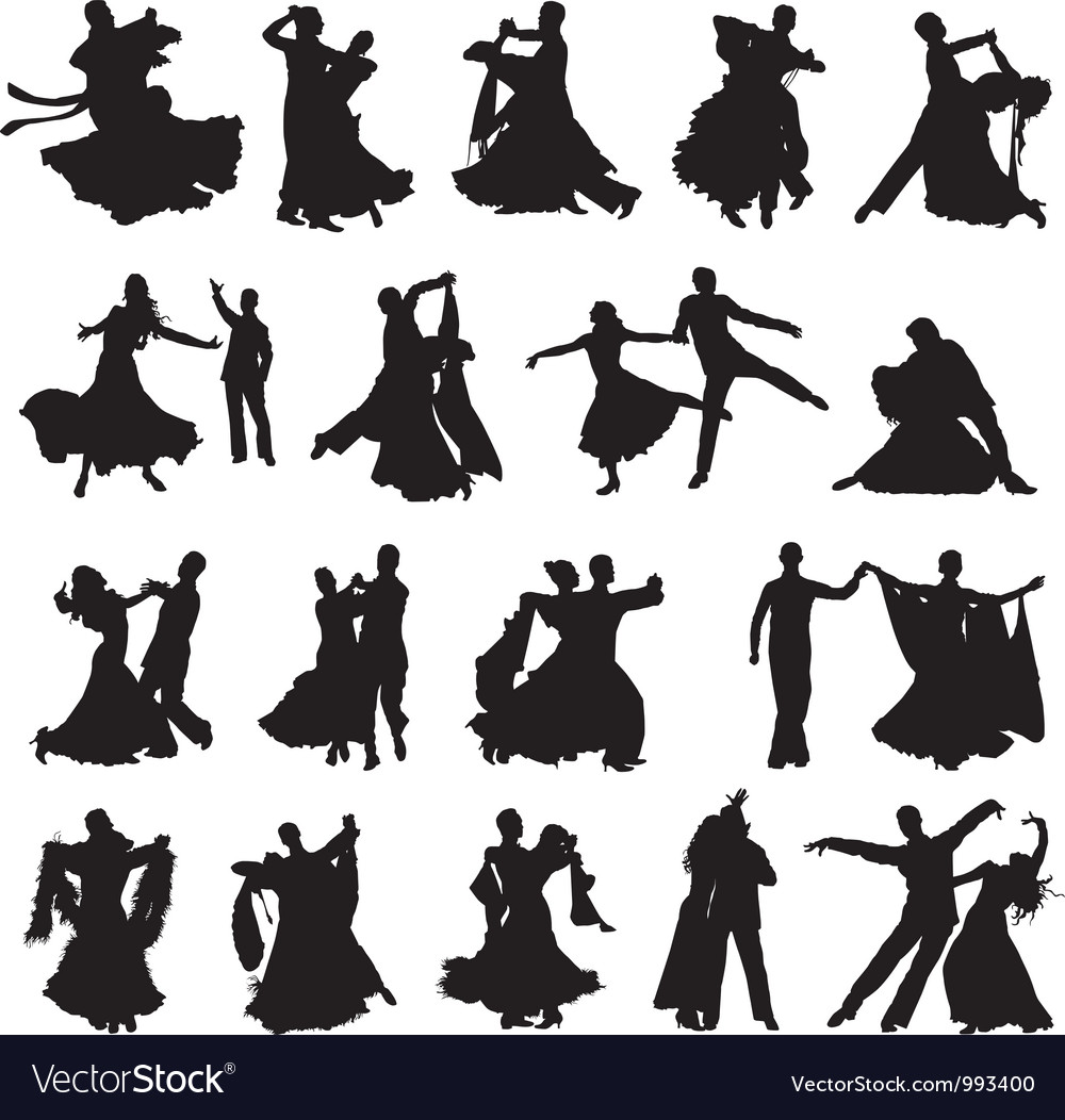 Silhouettes of couples dancing ballroom dance vector | Price: 1 Credit (USD $1)