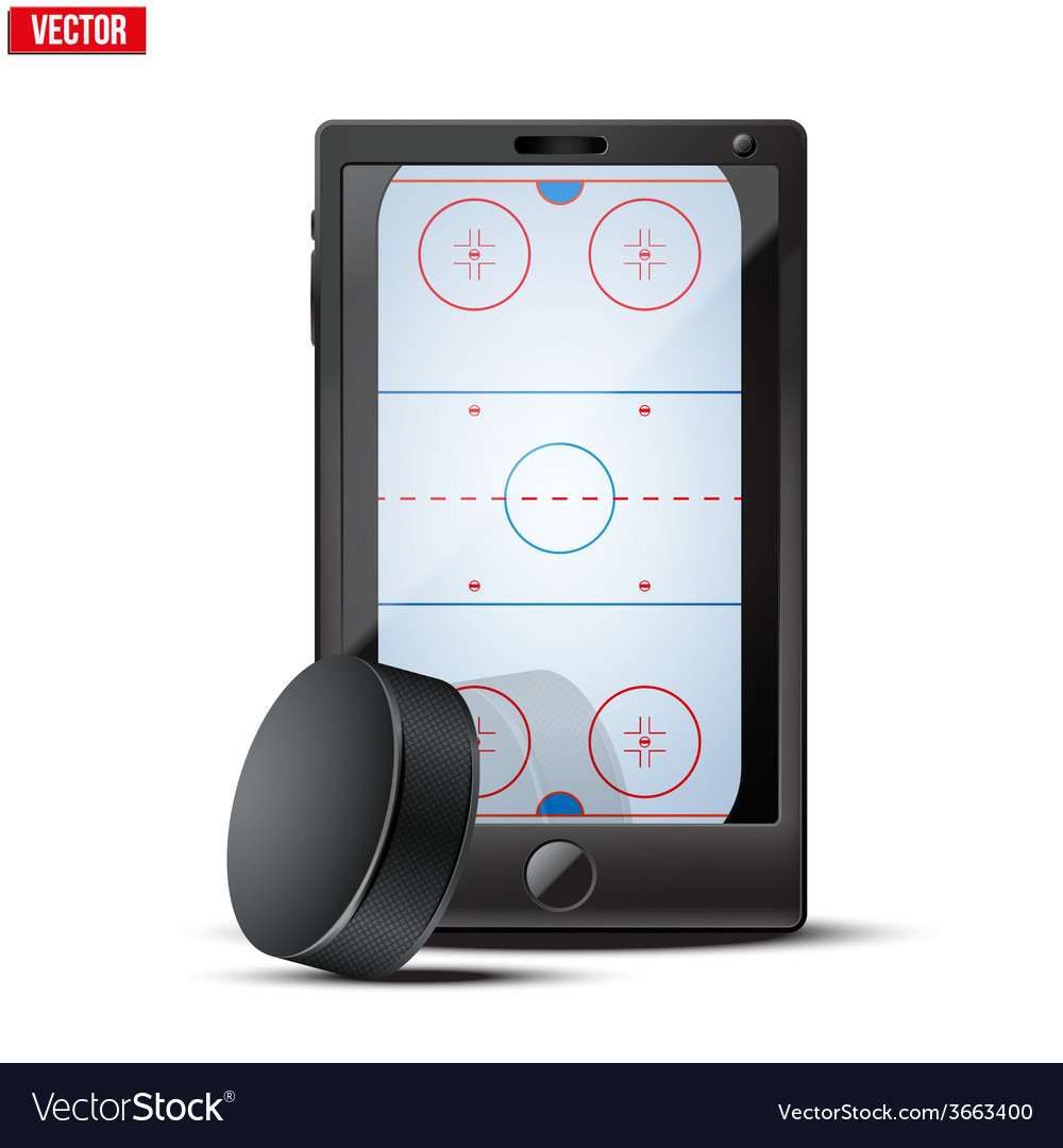 Smartphone with ice hockey puck and field on the vector | Price: 1 Credit (USD $1)