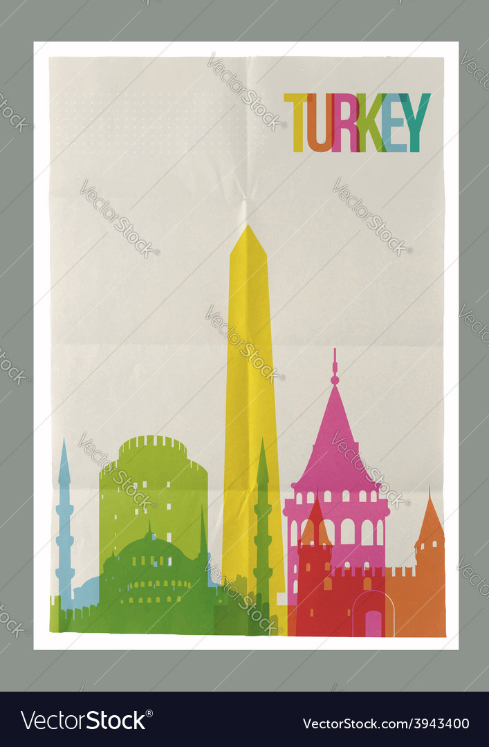 Travel turkey landmarks vintage paper poster vector | Price: 1 Credit (USD $1)