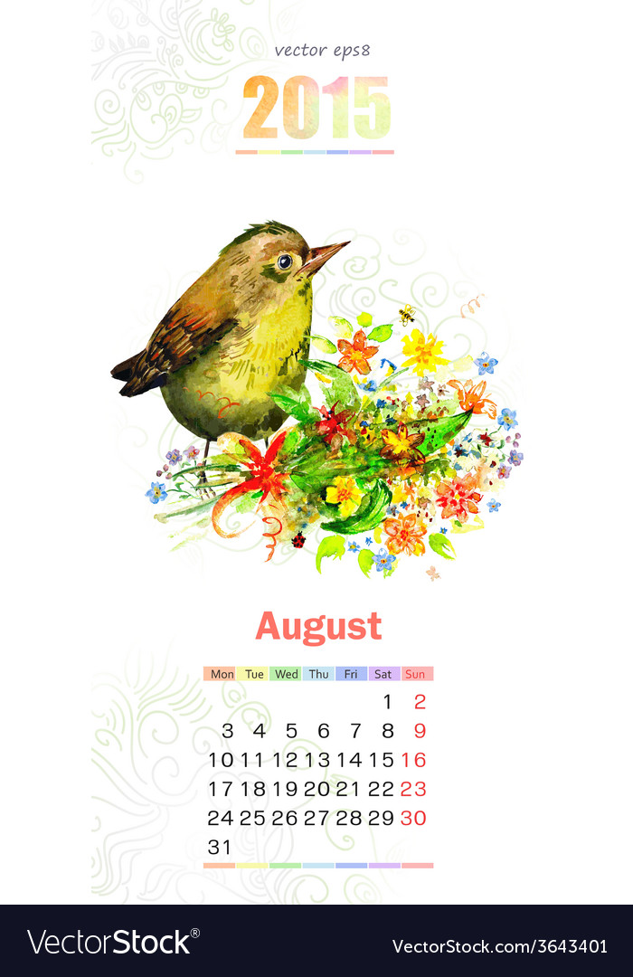 Calendar for 2015 august vector | Price: 1 Credit (USD $1)
