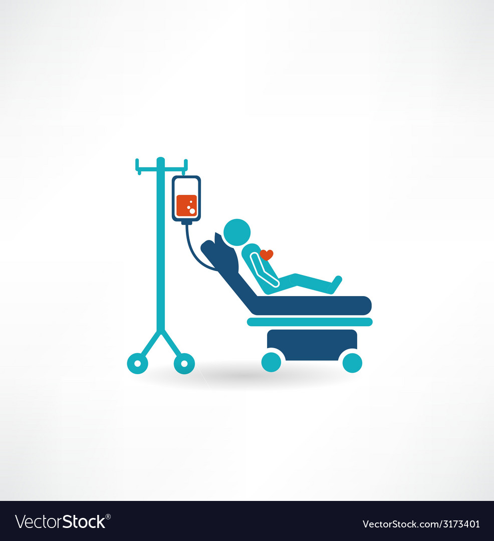Donor lies on a gurney and blood transfusions icon vector | Price: 1 Credit (USD $1)