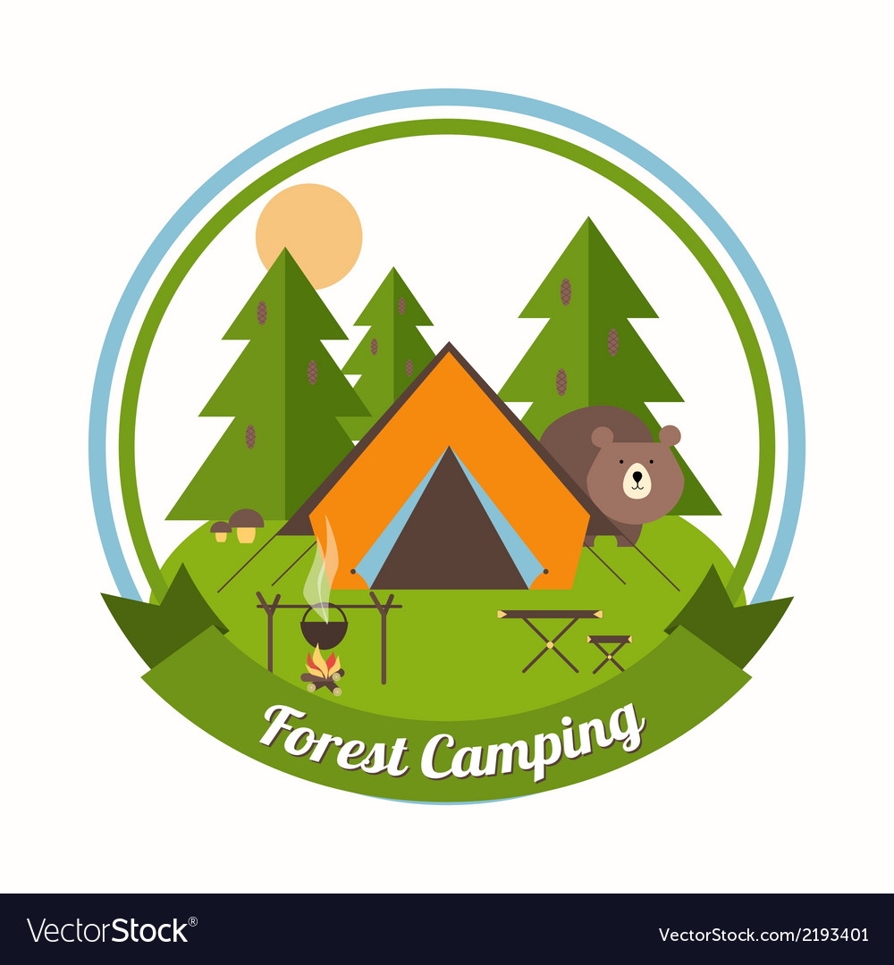 Forest camping emblem vector | Price: 1 Credit (USD $1)