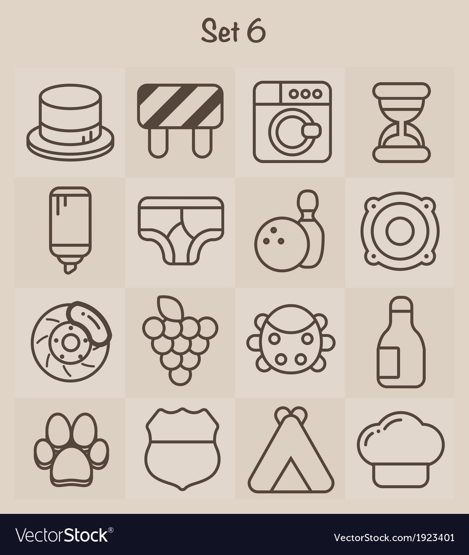 Outline icons set 6 vector | Price: 1 Credit (USD $1)