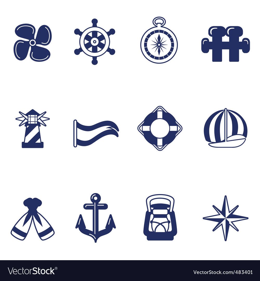 Sailing icons vector | Price: 1 Credit (USD $1)