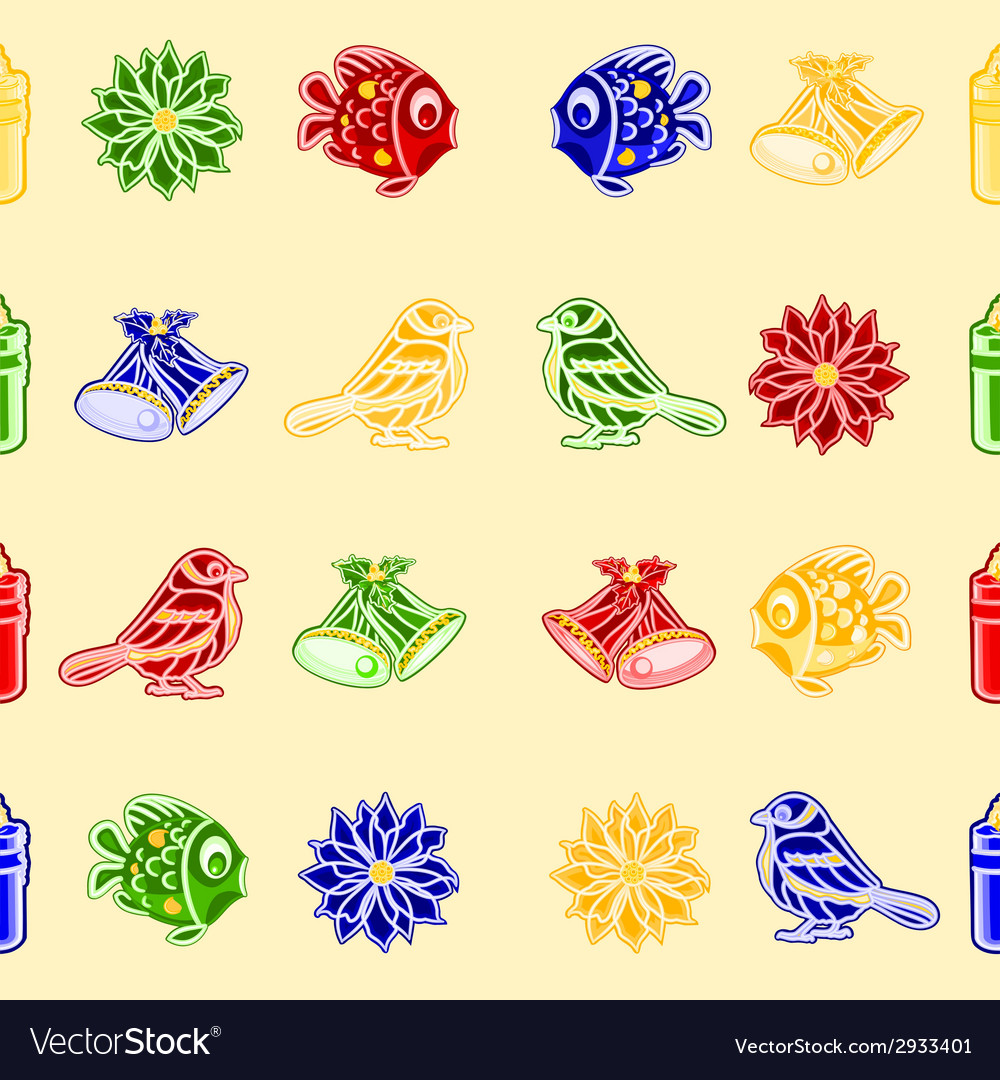 Seamless texture christmas decorations vector | Price: 1 Credit (USD $1)