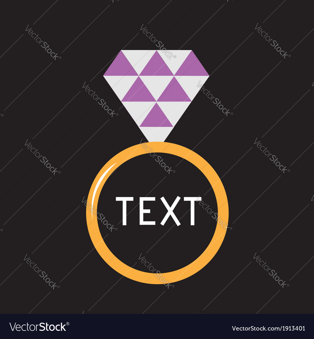 Wedding ring with purple diamond card vector | Price: 1 Credit (USD $1)