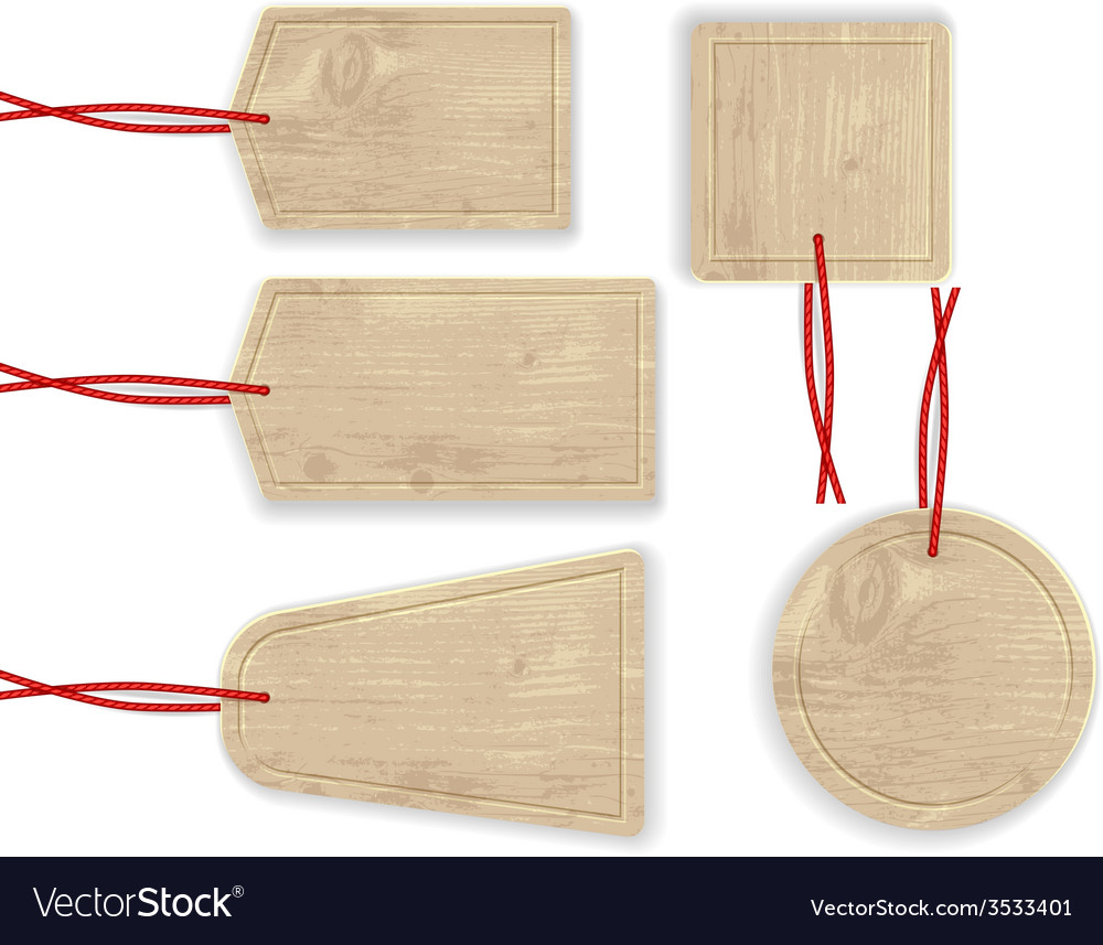 Wooden labels with red rope vector | Price: 1 Credit (USD $1)