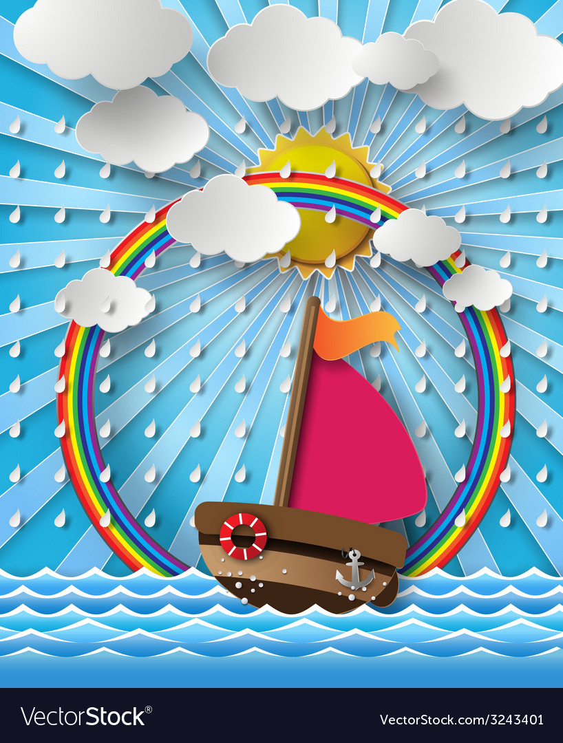 Yacht on sea with rain vector | Price: 3 Credit (USD $3)