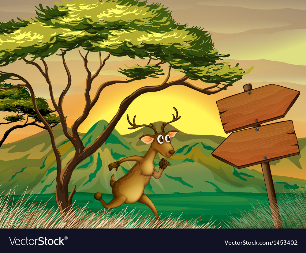 A deer following the wooden arrowboard vector   Price: 1 Credit (USD $1)