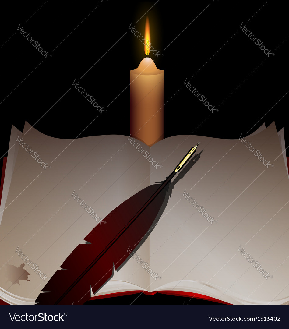 Candle and book vector | Price: 1 Credit (USD $1)