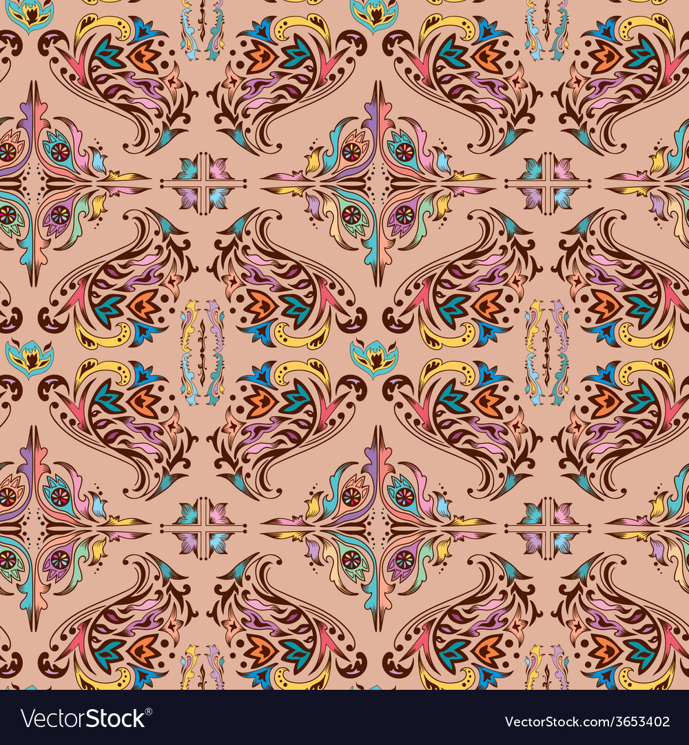 Colorful damask pattern vector | Price: 1 Credit (USD $1)
