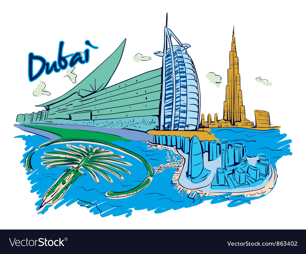 Dubai doodles vector | Price: 3 Credit (USD $3)