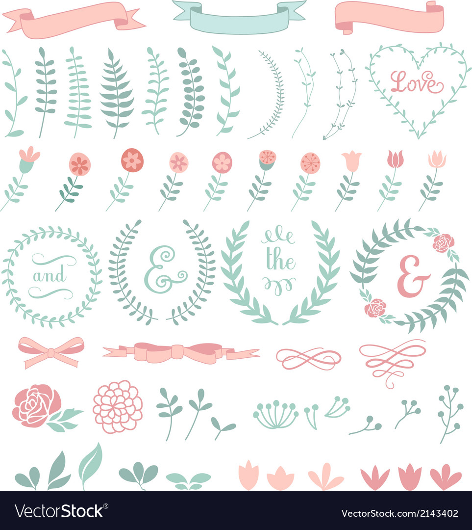 Floral laurel wreath set vector | Price: 1 Credit (USD $1)