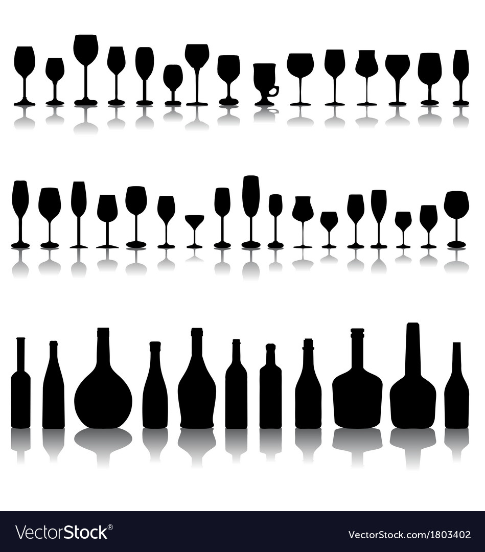Glasses and bottles of wine vector | Price: 1 Credit (USD $1)