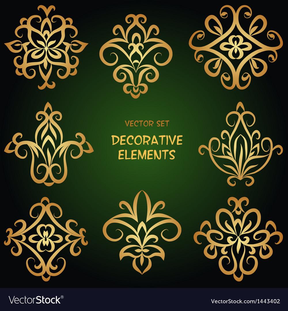 Golden decorative ethnic elements vector | Price: 1 Credit (USD $1)