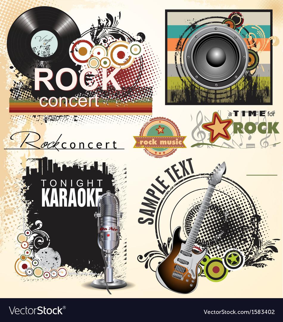 Grunge music banner set vector | Price: 1 Credit (USD $1)