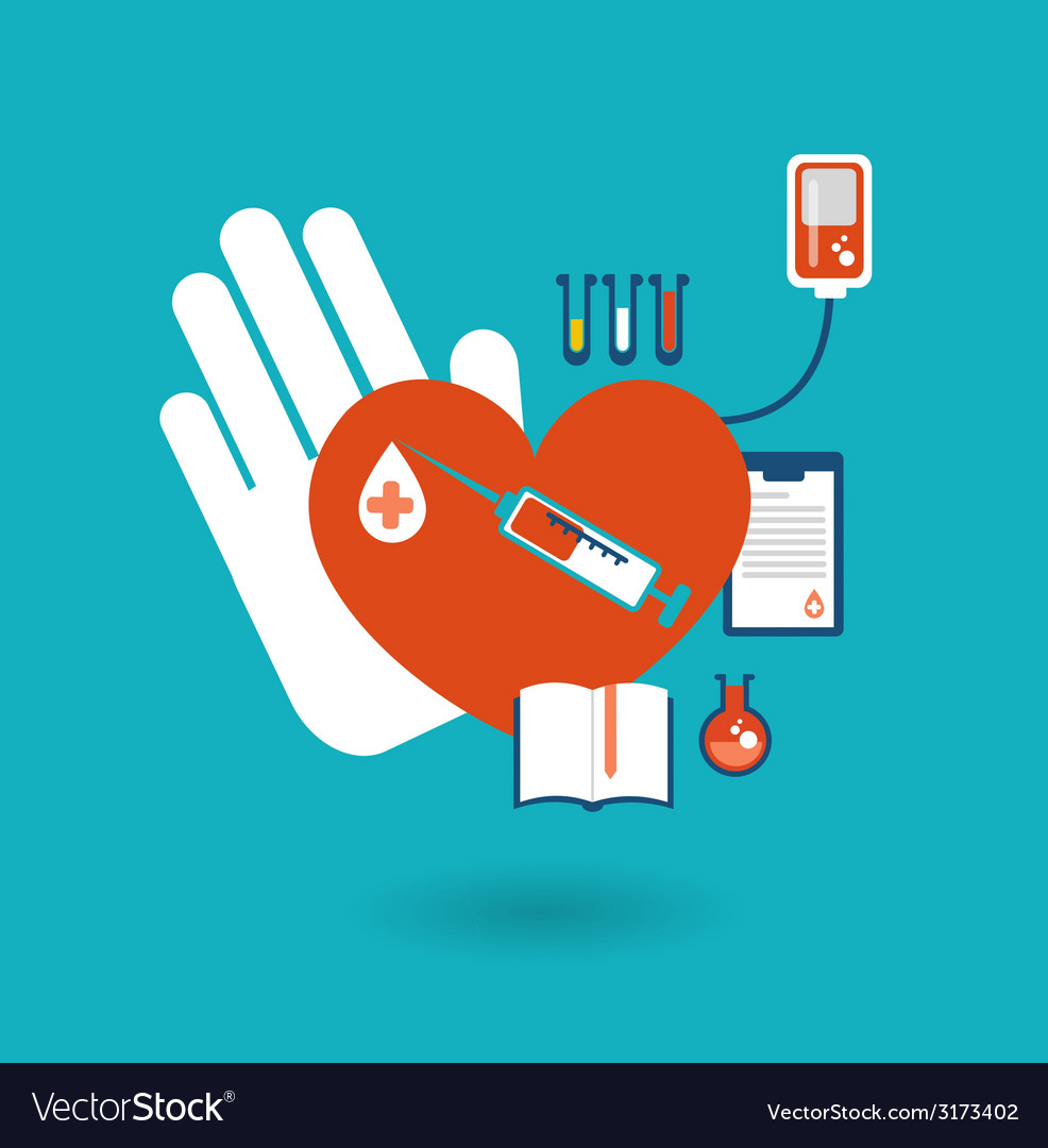 Hand holding a donor heart ready for blood vector | Price: 1 Credit (USD $1)