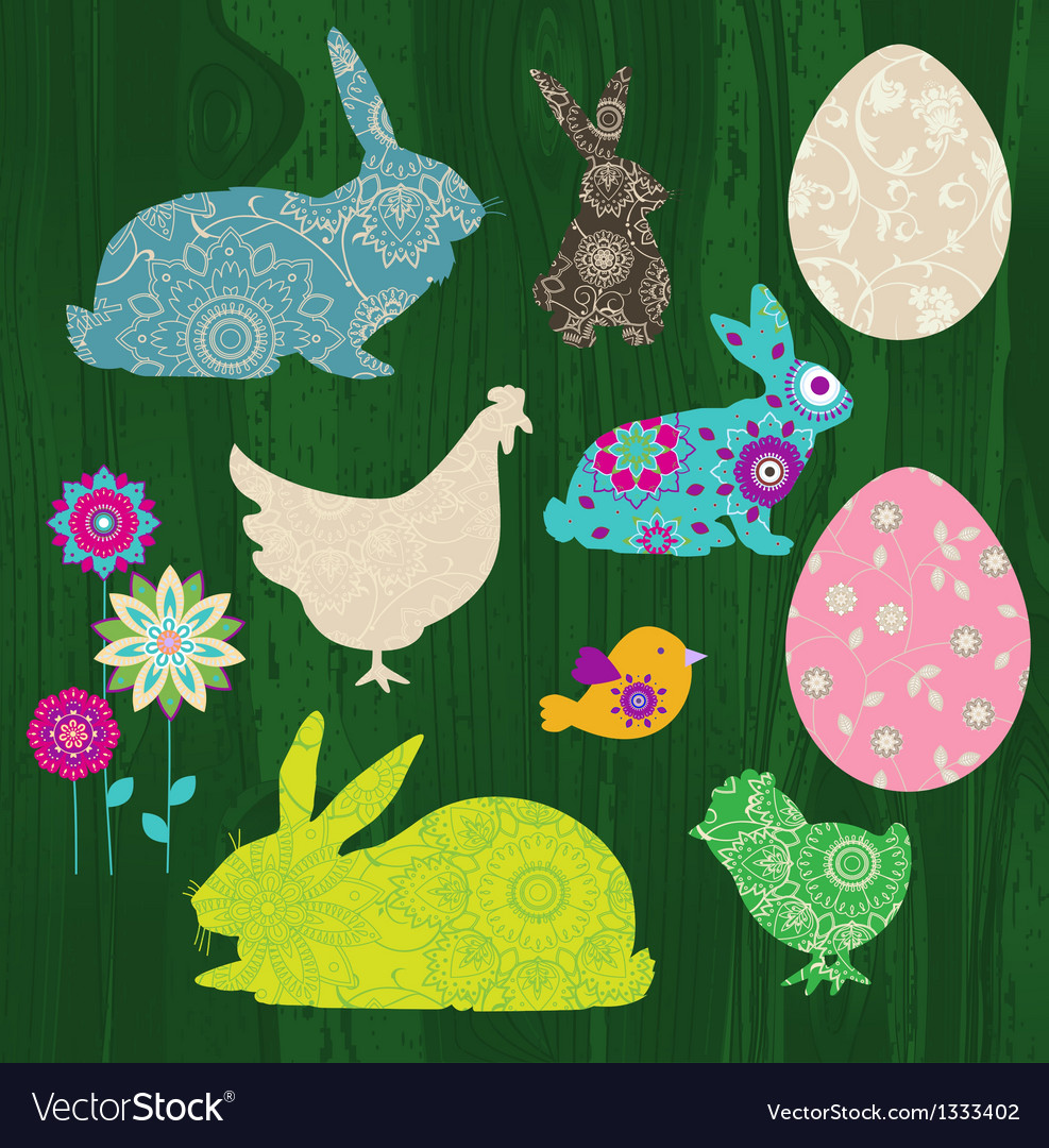 Happy easter elements vector | Price: 1 Credit (USD $1)