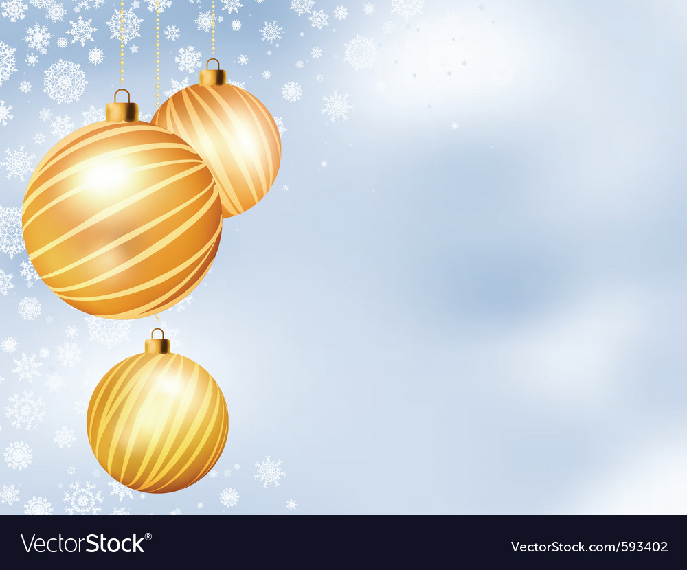 Light christmas backdrop with three balls eps 8 vector | Price: 1 Credit (USD $1)