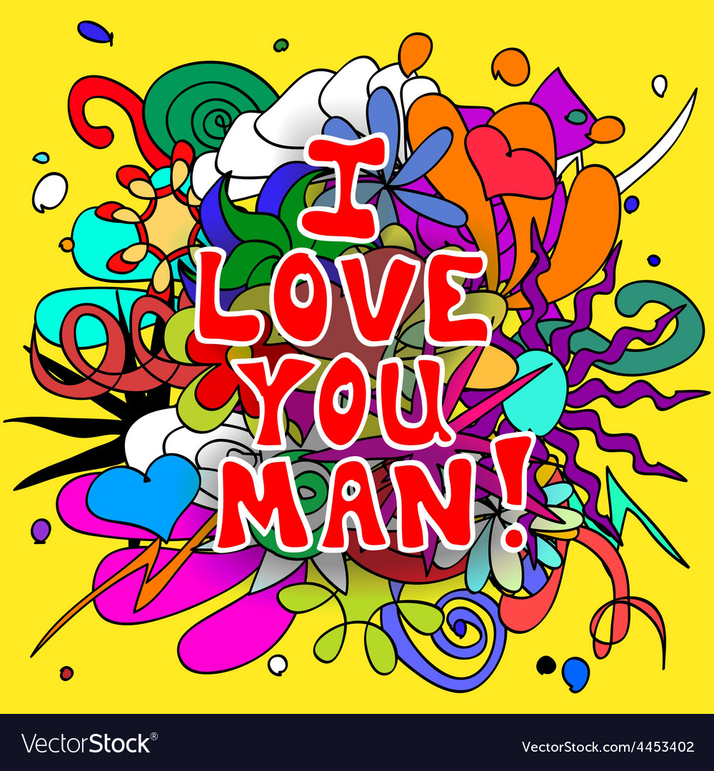 Love you man doodles vector | Price: 1 Credit (USD $1)