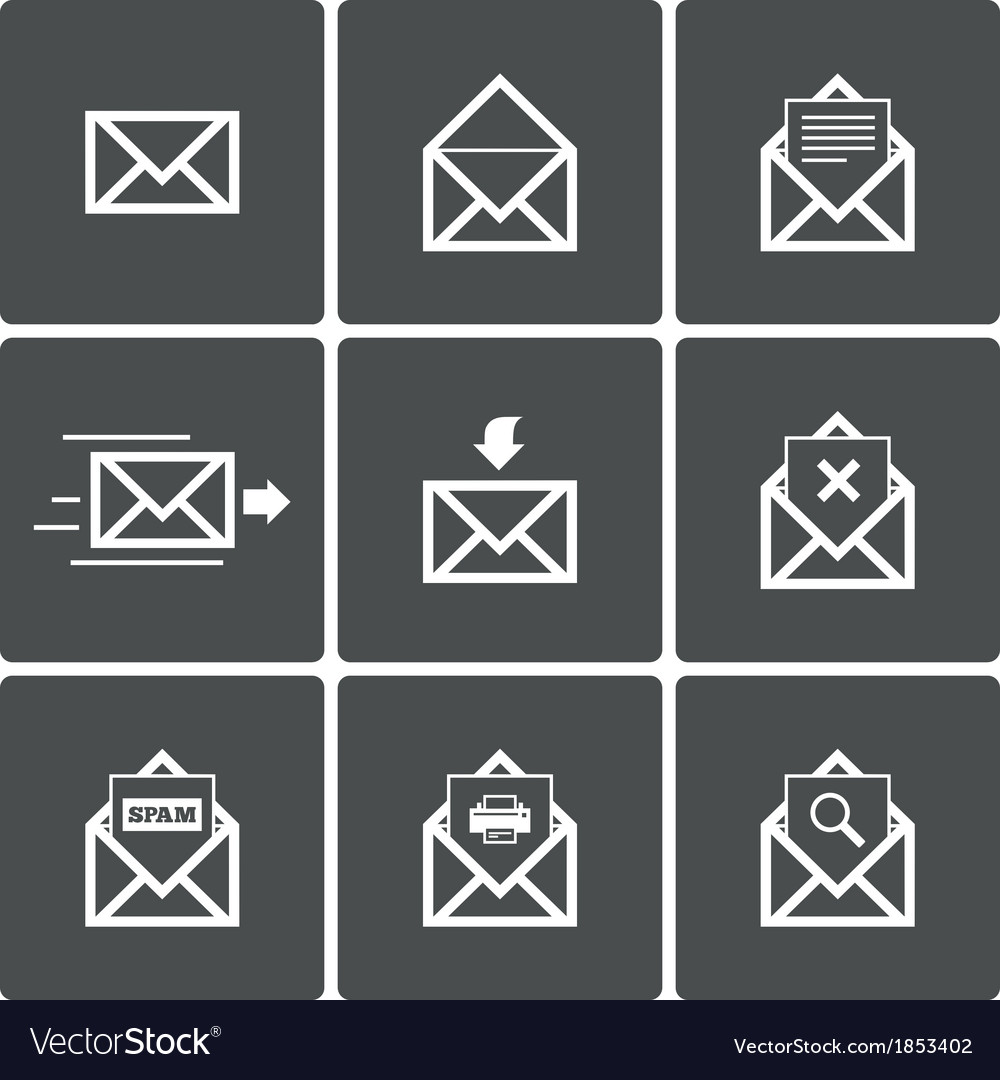 Mail icons mail delivery symbol print spam vector