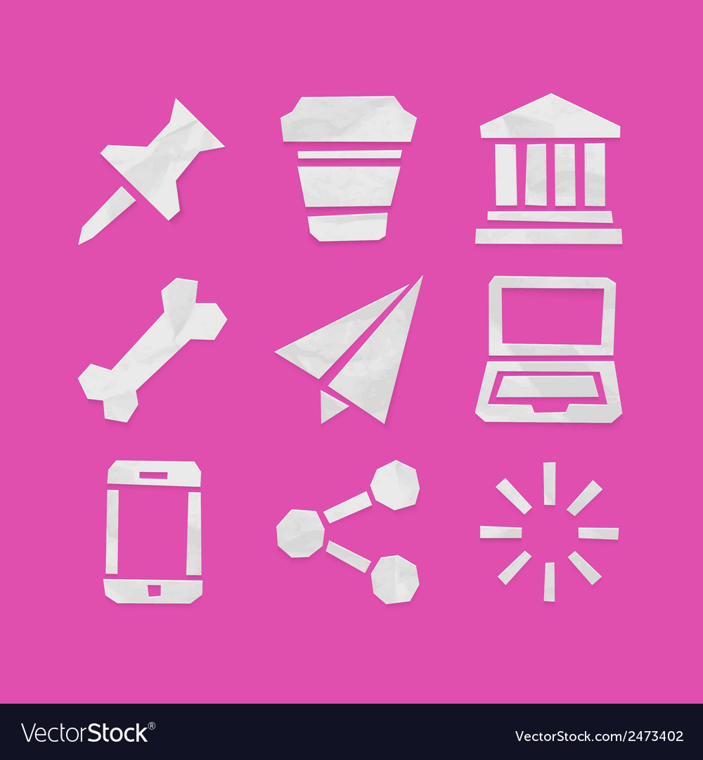 Paper cut icons for applications set 7 vector | Price: 1 Credit (USD $1)