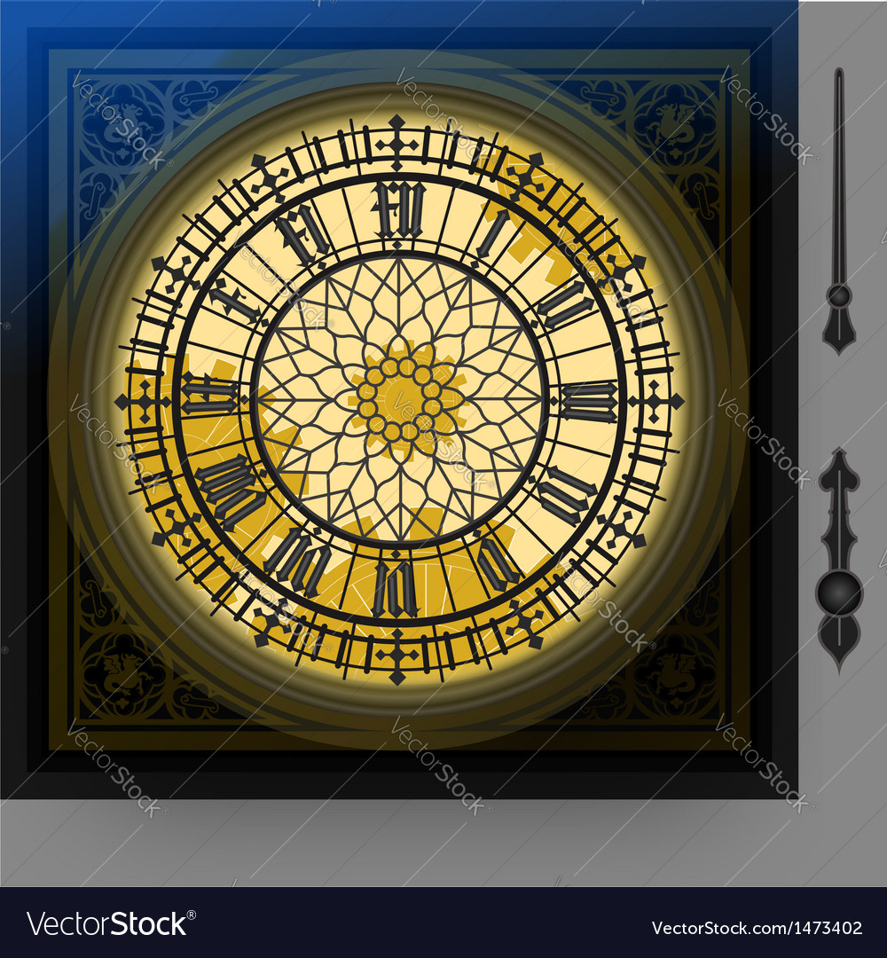 Quadrant of magical victorian clock with lancets vector | Price: 1 Credit (USD $1)