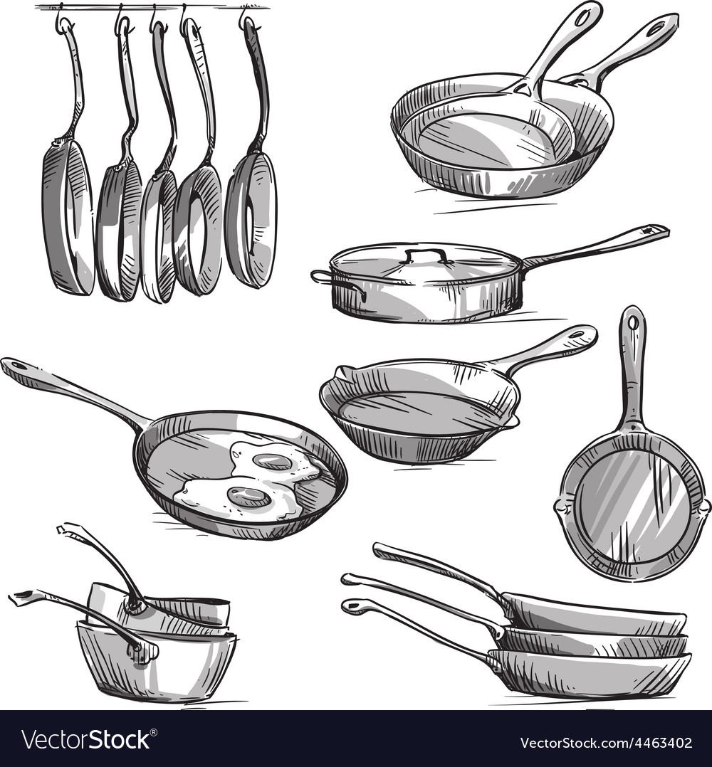 Set of frying pans vector | Price: 1 Credit (USD $1)