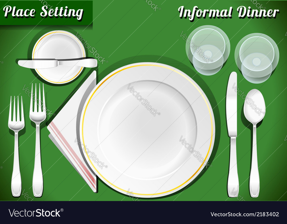 Set of place setting informal dinner vector | Price: 1 Credit (USD $1)