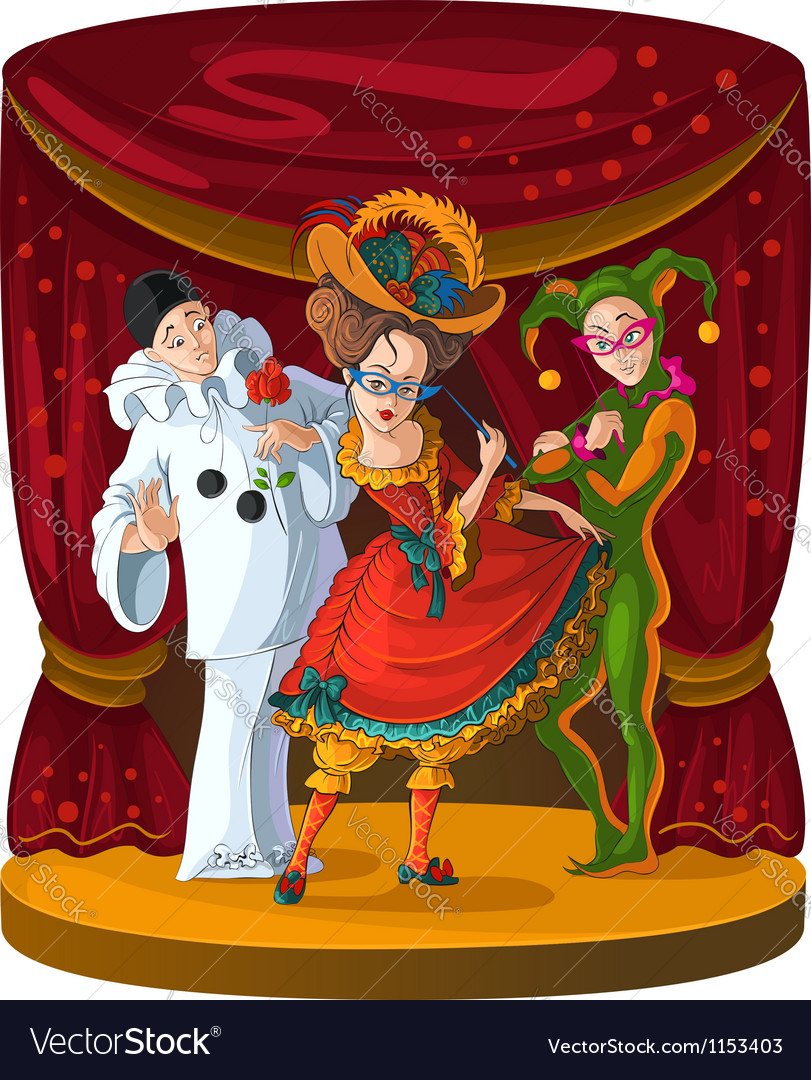 Columbine harlequin and pierrot theater vector | Price: 3 Credit (USD $3)