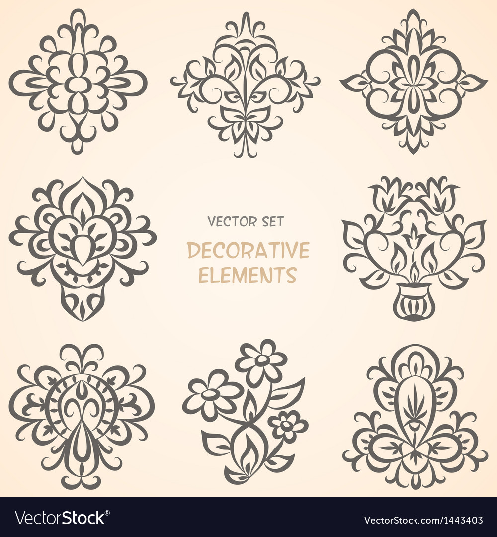 Floral decorative elements collection vector | Price: 1 Credit (USD $1)