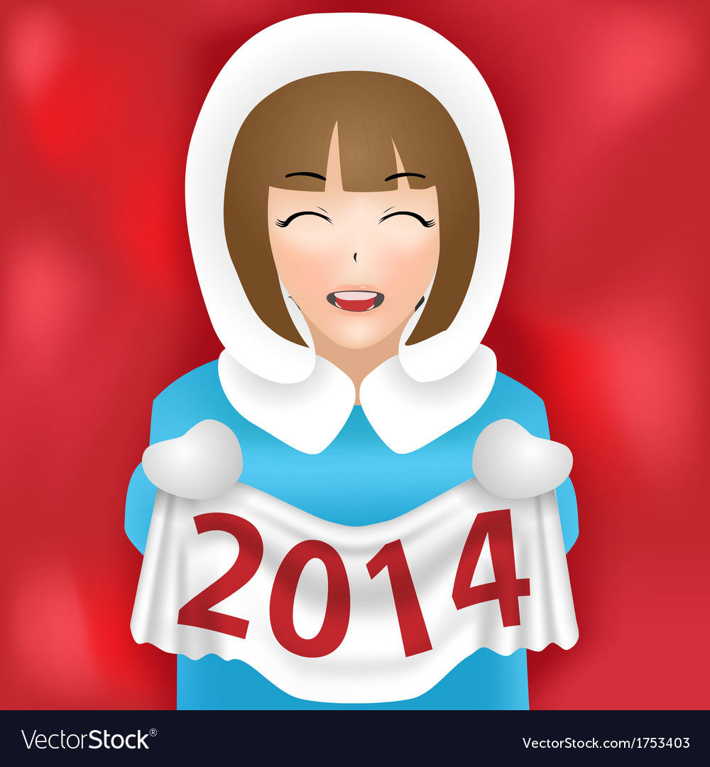 Girl new year 2014 vector | Price: 1 Credit (USD $1)