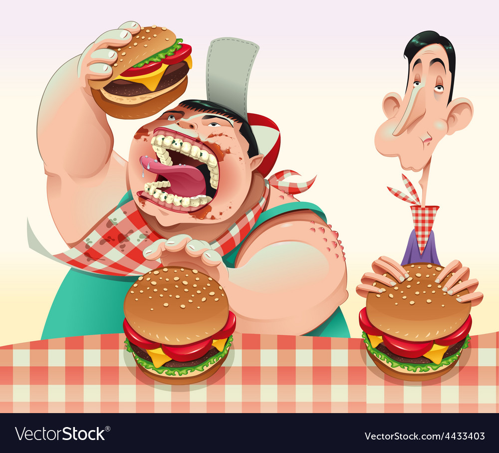 Guys with hamburgers vector | Price: 1 Credit (USD $1)