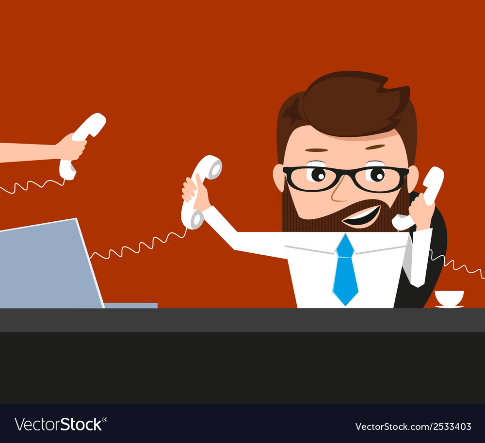 Lucky businessman is speaking via three phones vector | Price: 1 Credit (USD $1)