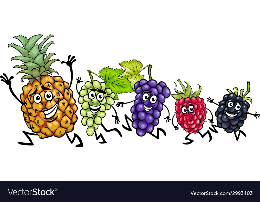 Running fruits cartoon vector | Price: 1 Credit (USD $1)