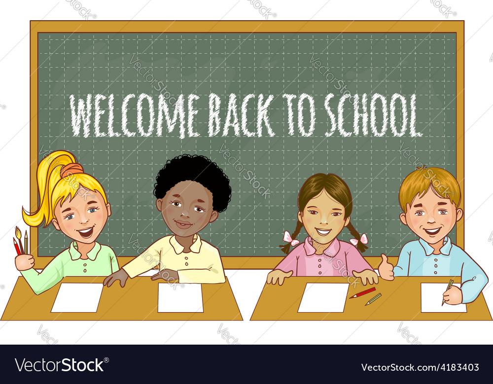 Schoolgirls and schoolboys at the blackboard vector | Price: 1 Credit (USD $1)